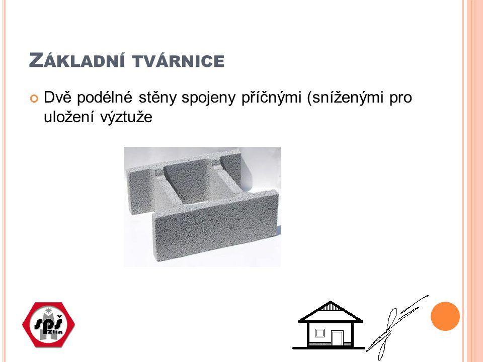 Z ÁKLADNÍ TVÁRNICE Dvě podélné stěny spojeny příčnými (sníženými pro uložení výztuže