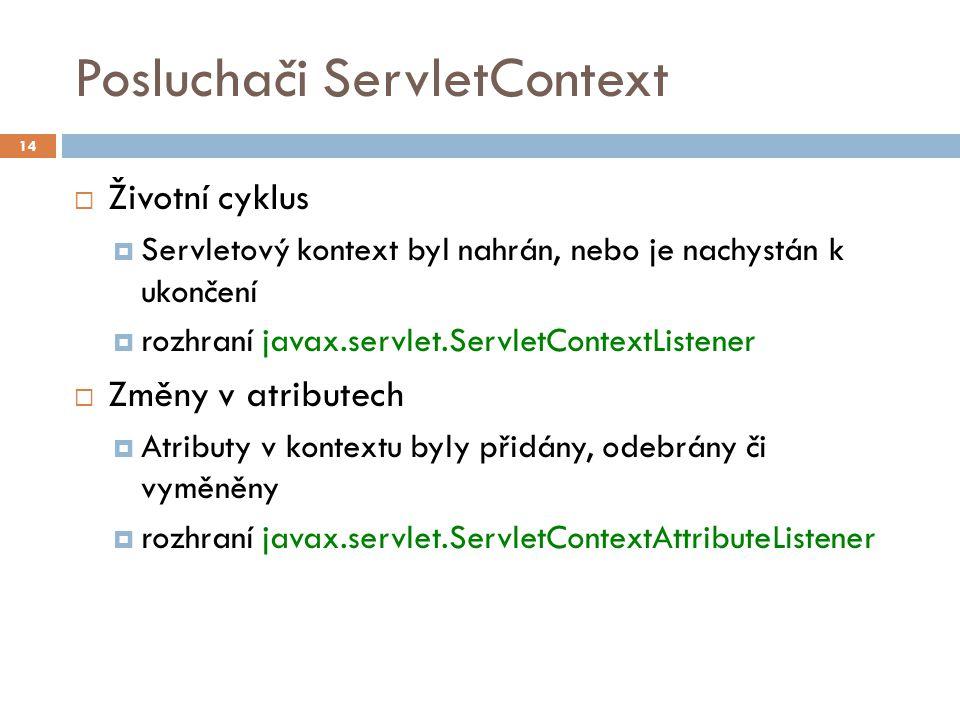 Posluchači ServletContext  Životní cyklus  Servletový kontext byl nahrán, nebo je nachystán k ukončení  rozhraní javax.servlet.ServletContextListener  Změny v atributech  Atributy v kontextu byly přidány, odebrány či vyměněny  rozhraní javax.servlet.ServletContextAttributeListener 14