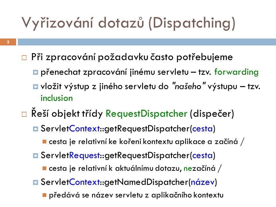 Vyřizování dotazů (Dispatching)  Při zpracování požadavku často potřebujeme  přenechat zpracování jinému servletu – tzv.