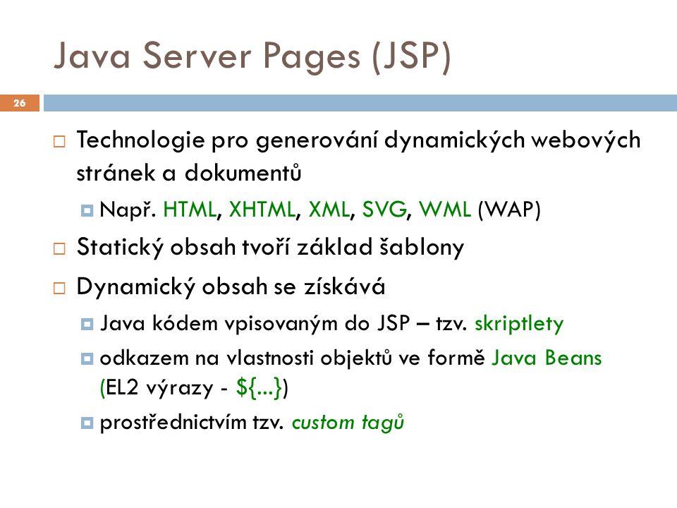 Java Server Pages (JSP)  Technologie pro generování dynamických webových stránek a dokumentů  Např.