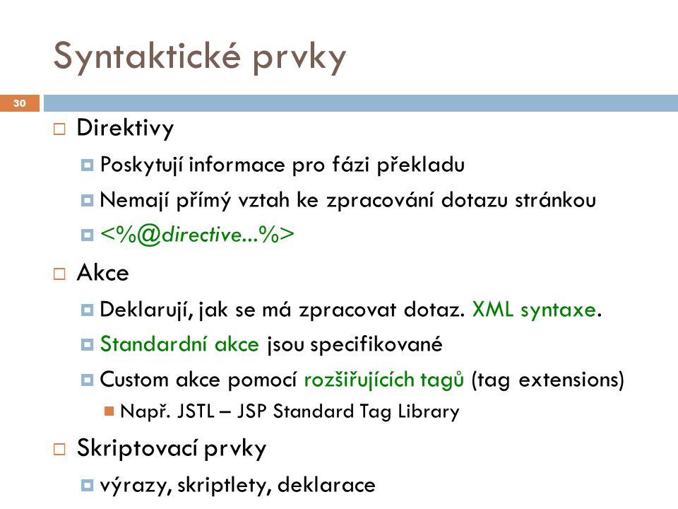 Direktivy  Syntax:  page  Definují vlastnosti generované stránky   taglib  Deklaruje, že stránka používá knihovnu tagů.
