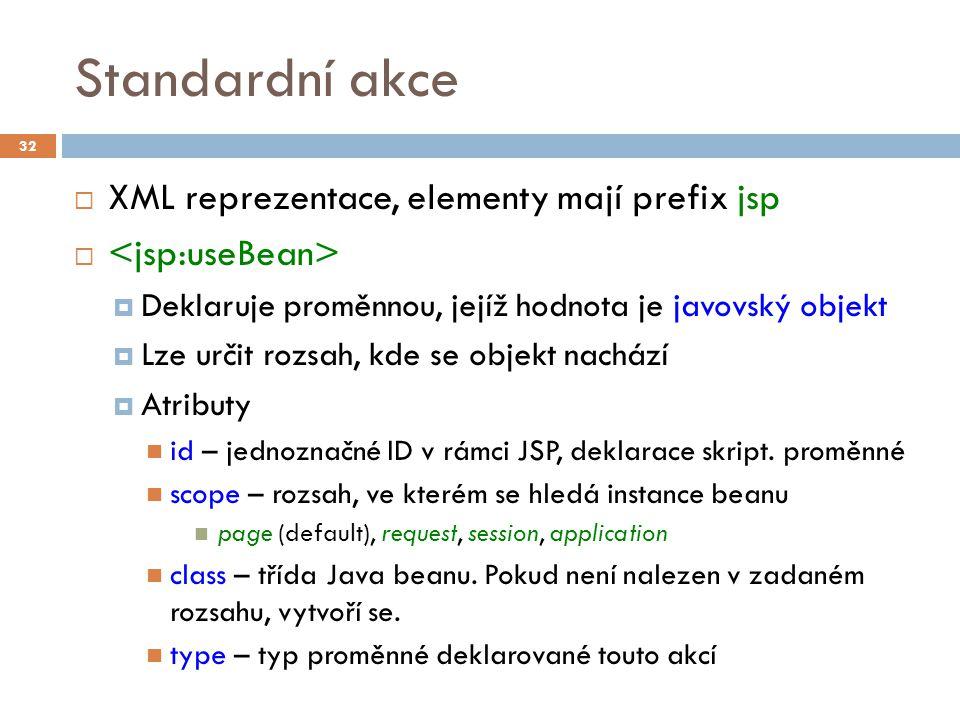 Standardní akce  XML reprezentace, elementy mají prefix jsp   Deklaruje proměnnou, jejíž hodnota je javovský objekt  Lze určit rozsah, kde se objekt nachází  Atributy id – jednoznačné ID v rámci JSP, deklarace skript.