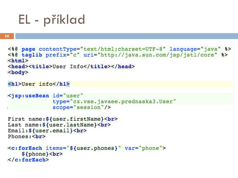 JSP dokumenty  JSP dokumenty jsou JSP stránky psané v XML  Tímto vyjádřením se získá řada výhod  K editaci lze použít běžné XML editory  Stránky lze validovat oproti schématu (DTD, XSD)  Lze využít jmenných prostorů pro oddělení a vnoření různých obsahů  Přehlednost 51