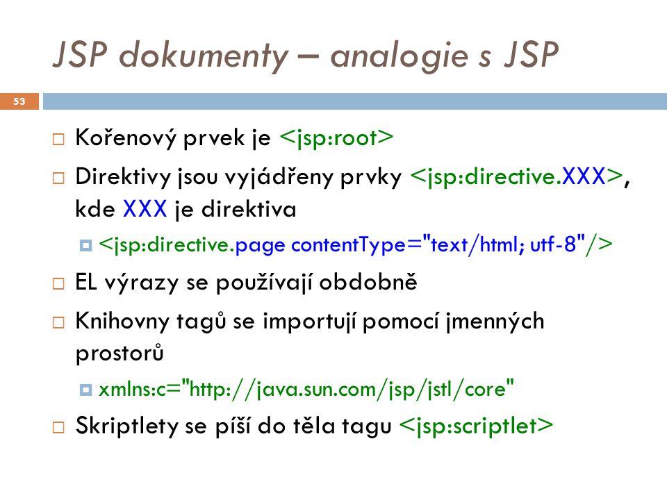 JSP dokumenty – analogie s JSP  Kořenový prvek je  Direktivy jsou vyjádřeny prvky, kde XXX je direktiva   EL výrazy se používají obdobně  Knihovn