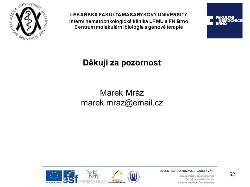 Děkuji za pozornost Marek Mráz marek.mraz@email.cz LÉKAŘSKÁ FAKULTA MASARYKOVY UNIVERSITY Interní hematoonkologická klinika LF MU a FN Brno Centrum mo
