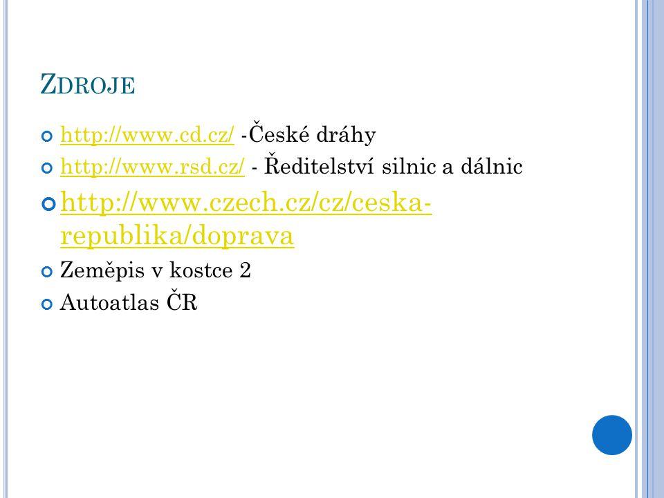 Z DROJE http://www.cd.cz/http://www.cd.cz/ -České dráhy http://www.rsd.cz/http://www.rsd.cz/ - Ředitelství silnic a dálnic http://www.czech.cz/cz/ceska- republika/doprava Zeměpis v kostce 2 Autoatlas ČR