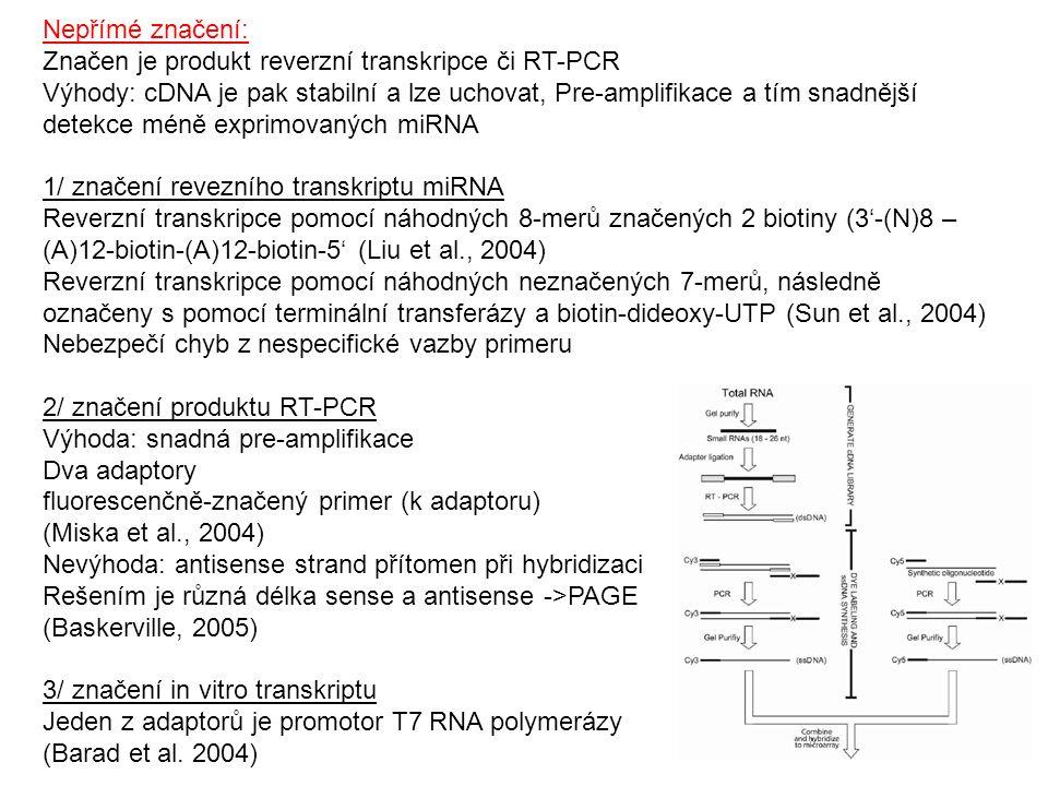 Nepřímé značení: Značen je produkt reverzní transkripce či RT-PCR Výhody: cDNA je pak stabilní a lze uchovat, Pre-amplifikace a tím snadnější detekce