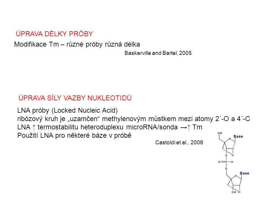 """ÚPRAVA SÍLY VAZBY NUKLEOTIDŮ LNA próby (Locked Nucleic Acid) ribózový kruh je """"uzamčen"""" methylenovým můstkem mezi atomy 2´-O a 4´-C LNA ↑ termostabili"""