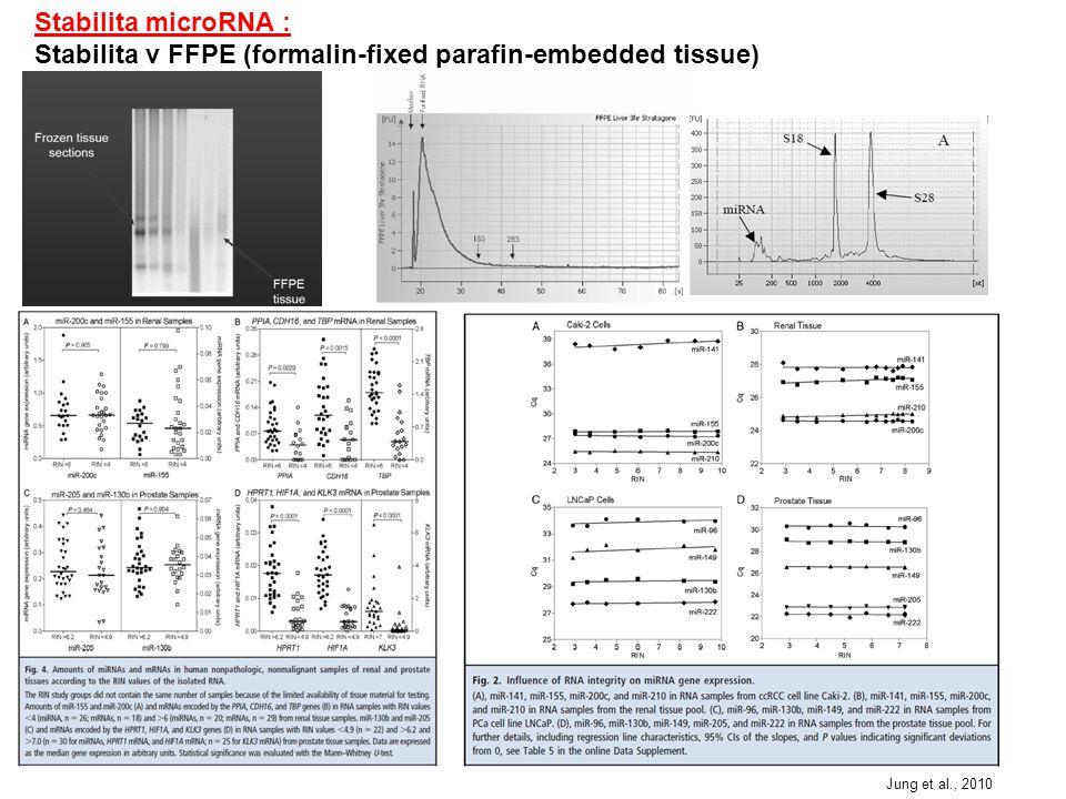 """3/ Labeling – značení:  Není možný labeling pomocí značených polyT při reverzní transkripci  Přímé značení (direct labeling) – většinou nějaká fluorescenční barva  Nepřímé značení (indirect labeling) – probíhá nějaká reverzní transkripce/PCR Přímé značení: Jednoduché, rychlé a """"čím méně kroků tím méně vnesených chyb a variability 1/ Značení guaninu v microRNA Flurochromem vážícím se na guanin jsou označeny miRNA (Ulysis Alexa Flour 546/647) Všechny lidské miRNA obsahují guanin, ale v různém množství Nemožnost usuzovat na vzájemnou expresi různých miRNA (různý obsah guaninu) (Babak et al., 2004) 2/ Značení pomocí Poly (A) polymerázy Můžu se rozhodnout jak dlouhý bude poly(A) a tím ovlivnit sílu signálu (Shingara et al., 2005)"""