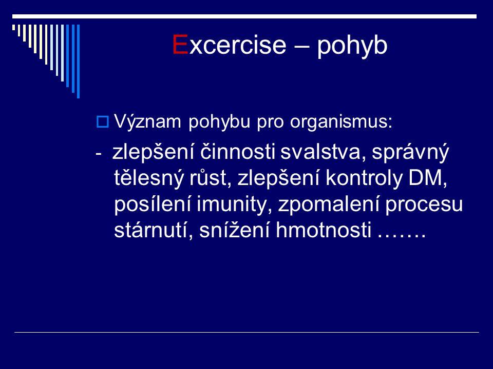 Excercise – pohyb  Význam pohybu pro organismus: - zlepšení činnosti svalstva, správný tělesný růst, zlepšení kontroly DM, posílení imunity, zpomalení procesu stárnutí, snížení hmotnosti …….