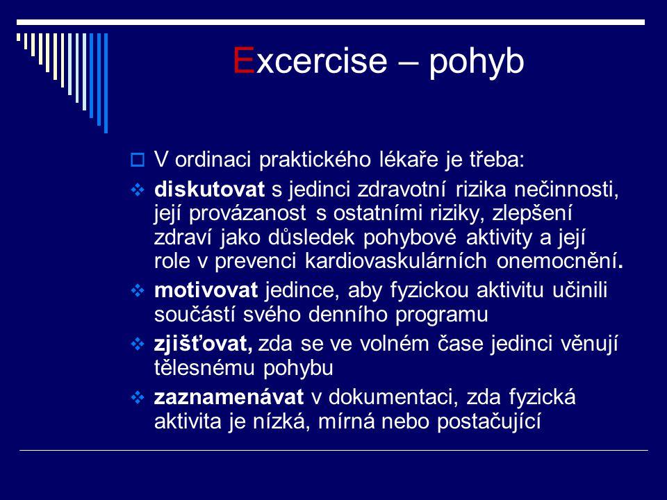 Excercise – pohyb  V ordinaci praktického lékaře je třeba:  diskutovat s jedinci zdravotní rizika nečinnosti, její provázanost s ostatními riziky, zlepšení zdraví jako důsledek pohybové aktivity a její role v prevenci kardiovaskulárních onemocnění.