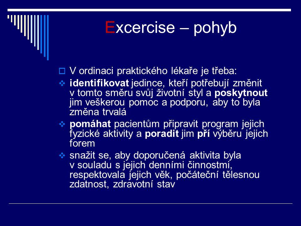 Excercise – pohyb  V ordinaci praktického lékaře je třeba:  identifikovat jedince, kteří potřebují změnit v tomto směru svůj životní styl a poskytno