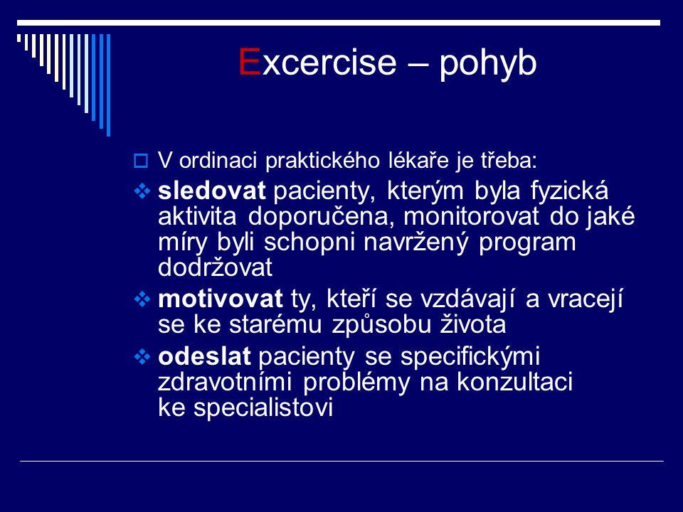 Excercise – pohyb  V ordinaci praktického lékaře je třeba:  sledovat pacienty, kterým byla fyzická aktivita doporučena, monitorovat do jaké míry byl
