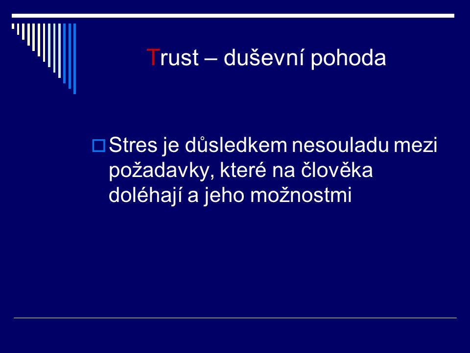 Trust – duševní pohoda  Stres je důsledkem nesouladu mezi požadavky, které na člověka doléhají a jeho možnostmi