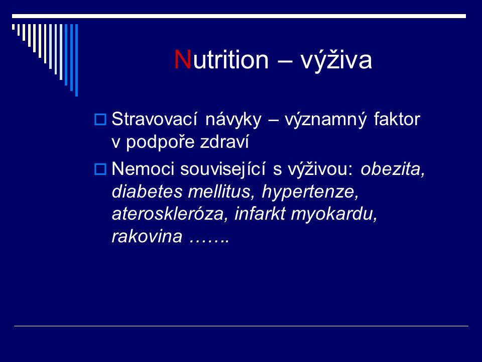 Nutrition – výživa  Stravovací návyky – významný faktor v podpoře zdraví  Nemoci související s výživou: obezita, diabetes mellitus, hypertenze, ateroskleróza, infarkt myokardu, rakovina …….