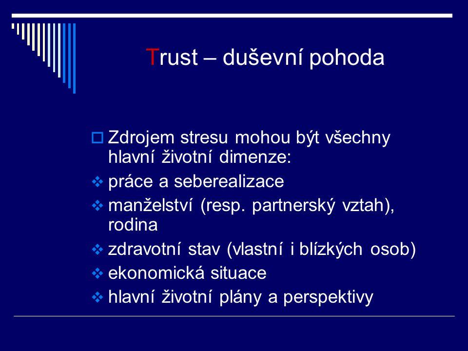 Trust – duševní pohoda  Zdrojem stresu mohou být všechny hlavní životní dimenze:  práce a seberealizace  manželství (resp. partnerský vztah), rodin