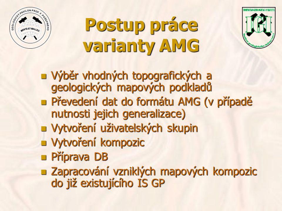 Postup práce varianty AMG n Výběr vhodných topografických a geologických mapových podkladů n Převedení dat do formátu AMG (v případě nutnosti jejich g