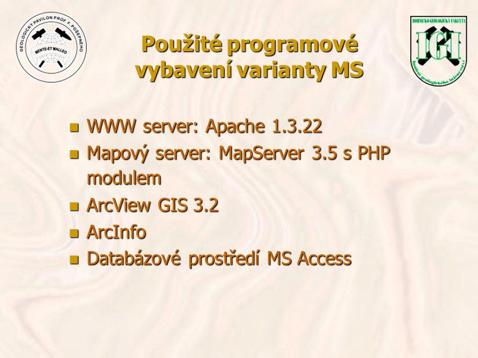 Použité programové vybavení varianty MS n WWW server: Apache 1.3.22 n Mapový server: MapServer 3.5 s PHP modulem n ArcView GIS 3.2 n ArcInfo n Databáz
