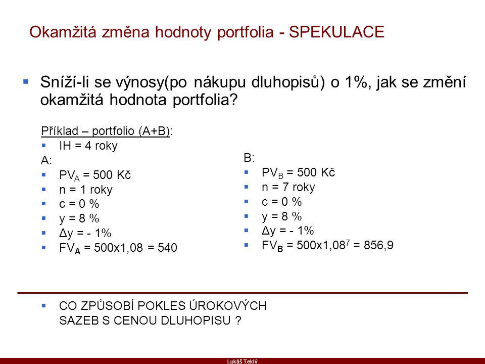 Lukáš Teklý Okamžitá změna hodnoty portfolia - SPEKULACE  Sníží-li se výnosy(po nákupu dluhopisů) o 1%, jak se změní okamžitá hodnota portfolia? Přík
