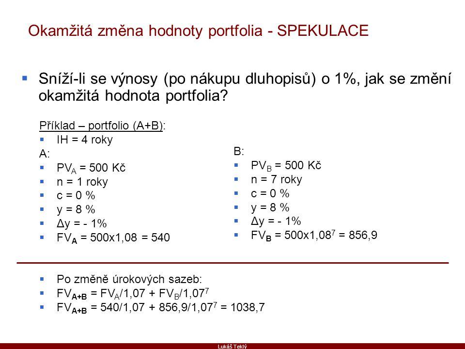 Lukáš Teklý Okamžitá změna hodnoty portfolia - SPEKULACE  Sníží-li se výnosy (po nákupu dluhopisů) o 1%, jak se změní okamžitá hodnota portfolia? Pří