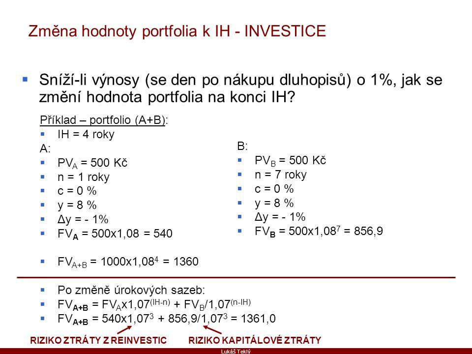 Lukáš Teklý Změna hodnoty portfolia k IH - INVESTICE  Sníží-li výnosy (se den po nákupu dluhopisů) o 1%, jak se změní hodnota portfolia na konci IH?