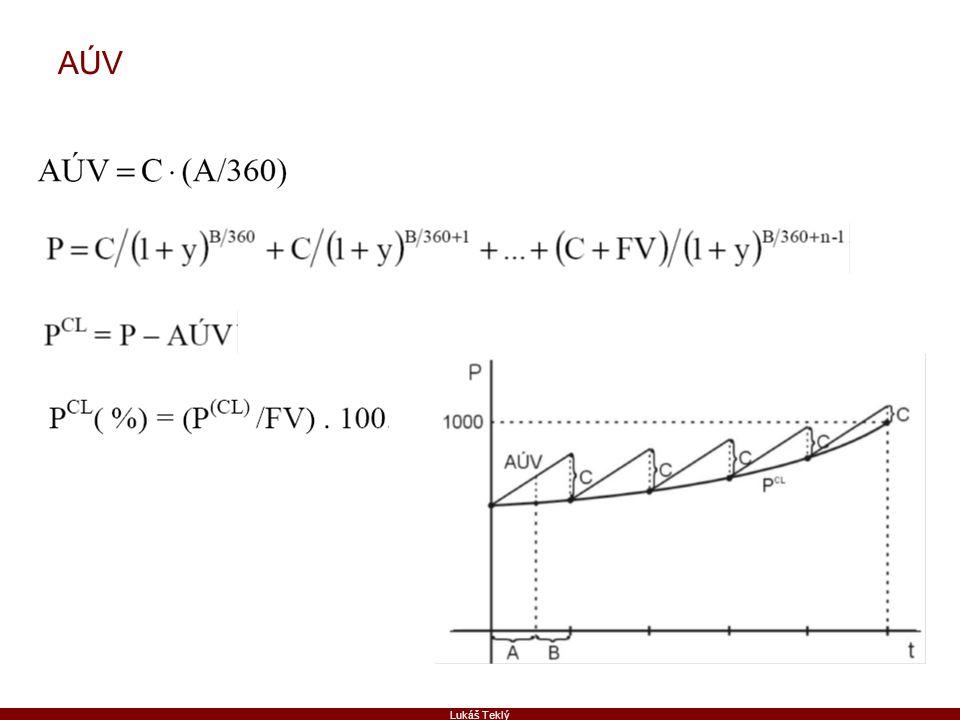 Lukáš Teklý Porovnání portfolií se stejnými duracemi Konvexivita portfolia  Dluhopis: CX = n(n+1)/(1+y) 2 => n(n+1)  Portfolio: CX P = (CX 1 P 1 + CX 2 P 2 + … + CX n P n )/(P 1 + P 2 + … + P n ) = CX 1 w 1 + CX 2 w 2 + … + CX n w n  Příklad: Portfolio P: A: D=1, w=1/3 B: D=3, w=1/3 C: D=5, w=1/3 D P = 3 CX P = .