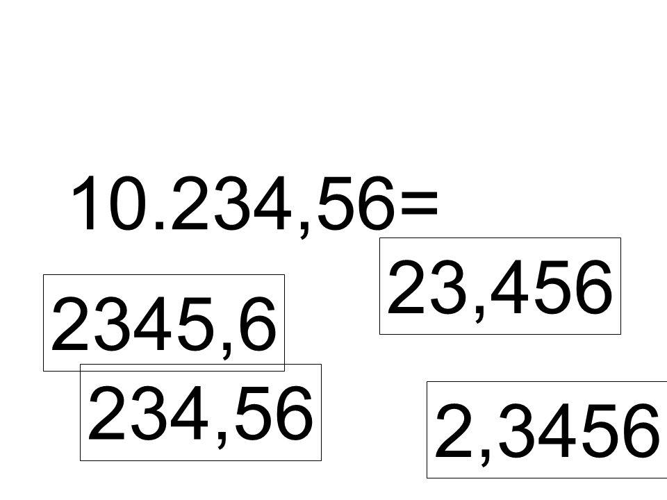 10.234,56= 2345,6 23,456 234,56 2,3456