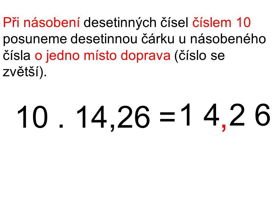 Při násobení desetinných čísel číslem 10 posuneme desetinnou čárku u násobeného čísla o jedno místo doprava (číslo se zvětší). 10. 14,26 = 1 4 2 6,