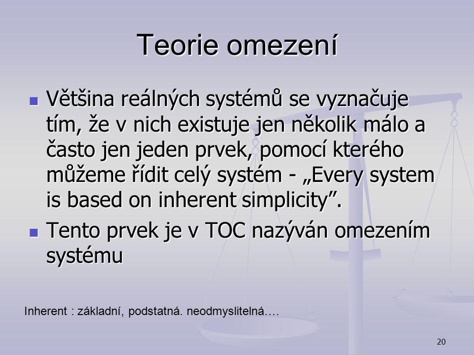19 Teorie omezení Vychází se systémového přístupu Vychází se systémového přístupu Podnik (organizaci) chápe jako řetěz závislých procesů Podnik (organ