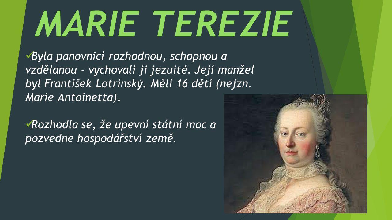 Byla panovnicí rozhodnou, schopnou a vzdělanou - vychovali ji jezuité. Její manžel byl František Lotrinský. Měli 16 dětí (nejzn. Marie Antoinetta). Ro