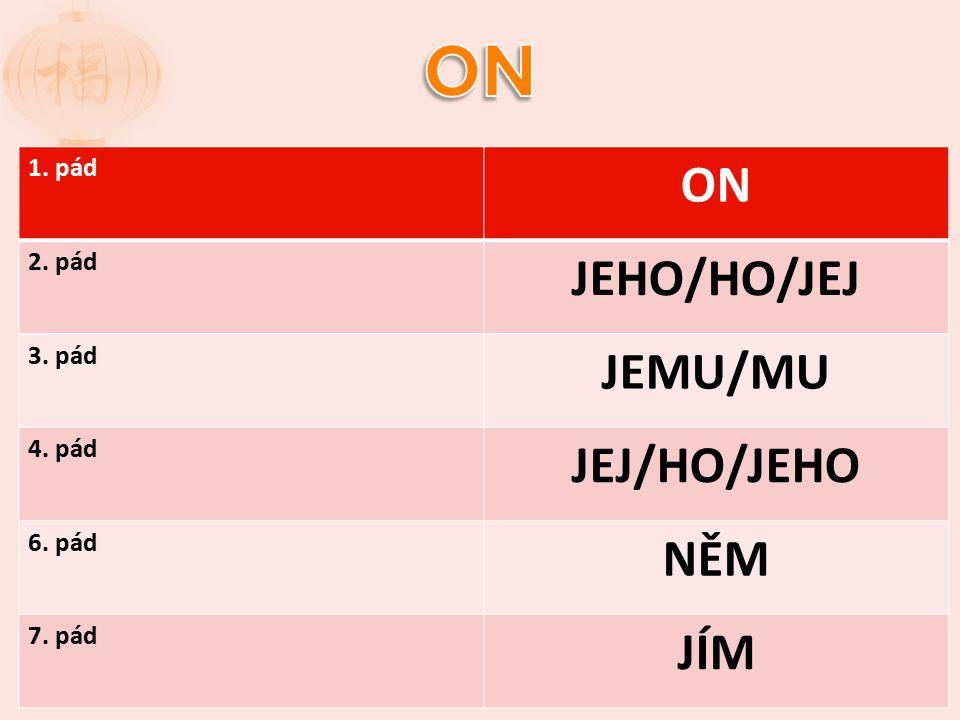 1. pád ON 2. pád JEHO/HO/JEJ 3. pád JEMU/MU 4. pád JEJ/HO/JEHO 6. pád NĚM 7. pád JÍM