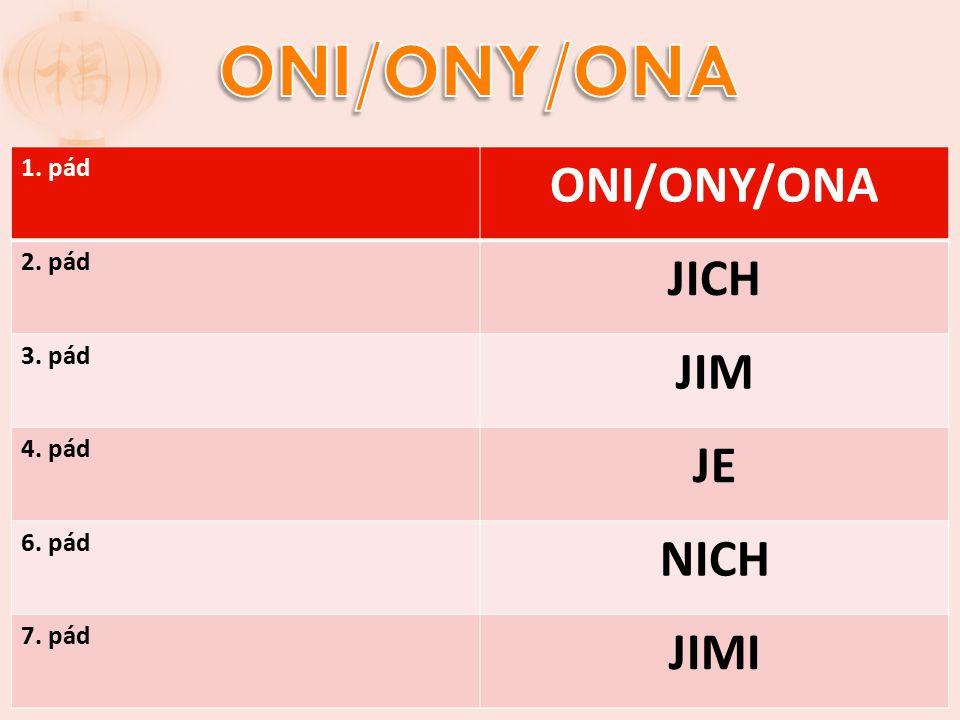 1. pád ONI/ONY/ONA 2. pád JICH 3. pád JIM 4. pád JE 6. pád NICH 7. pád JIMI