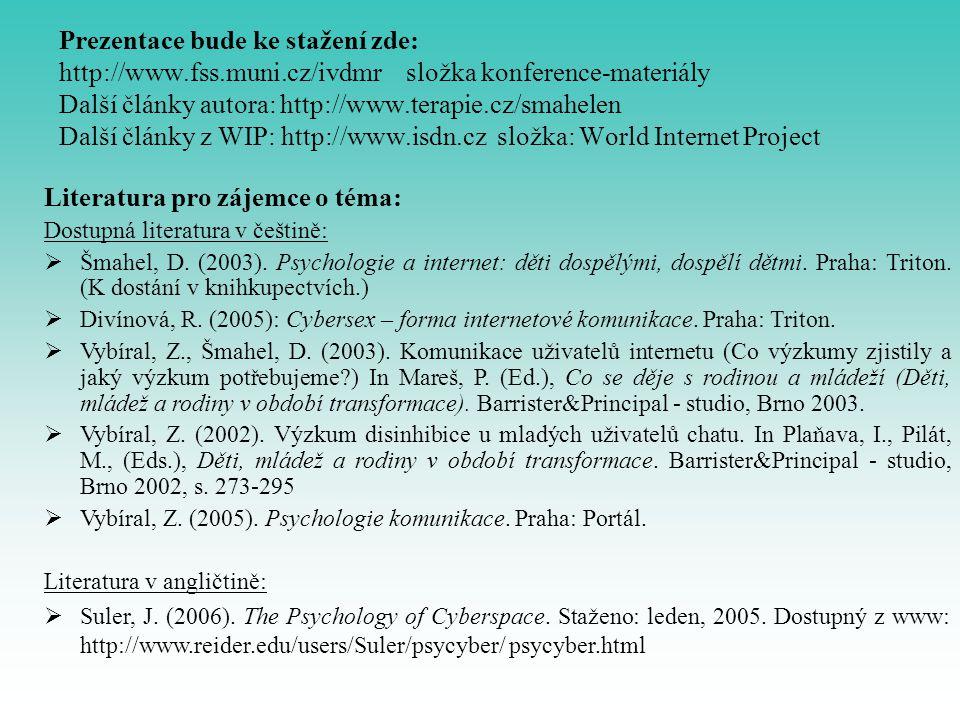 Prezentace bude ke stažení zde: http://www.fss.muni.cz/ivdmr složka konference-materiály Další články autora: http://www.terapie.cz/smahelen Další člá