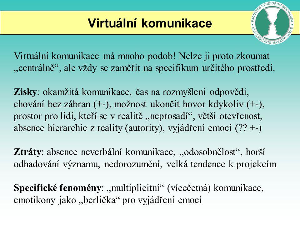 """Virtuální komunikace Virtuální komunikace má mnoho podob! Nelze ji proto zkoumat """"centrálně"""", ale vždy se zaměřit na specifikum určitého prostředí. Zi"""