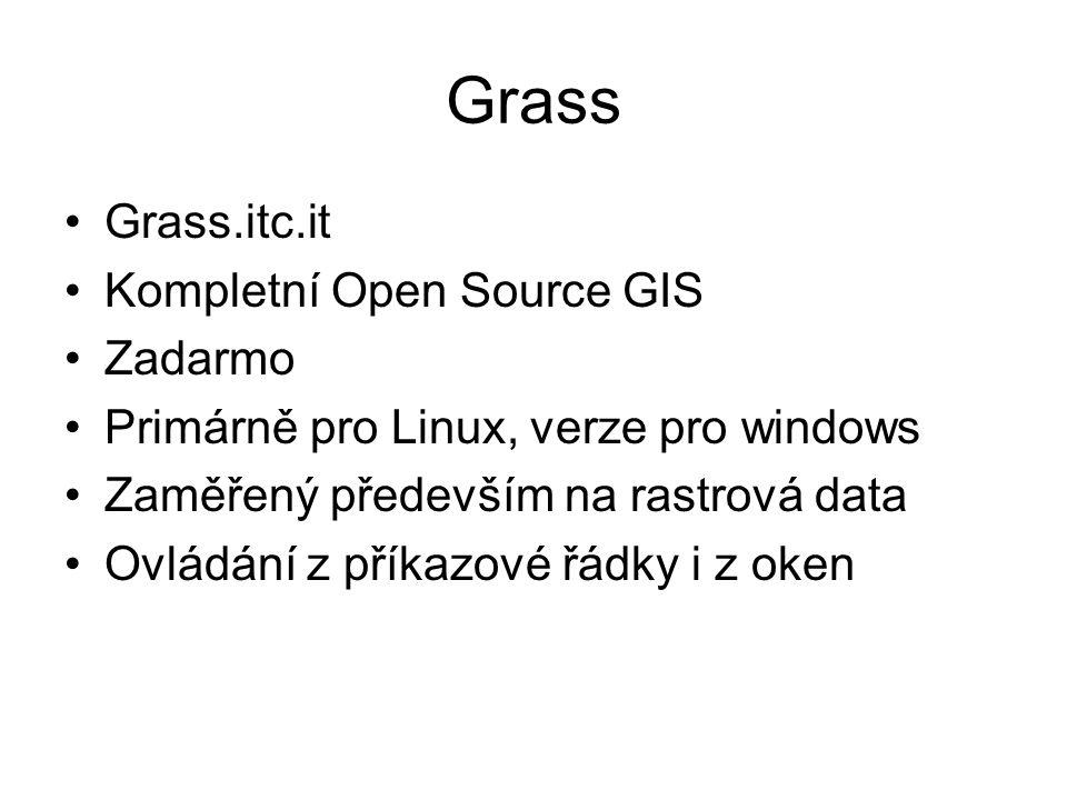 Grass Grass.itc.it Kompletní Open Source GIS Zadarmo Primárně pro Linux, verze pro windows Zaměřený především na rastrová data Ovládání z příkazové řá