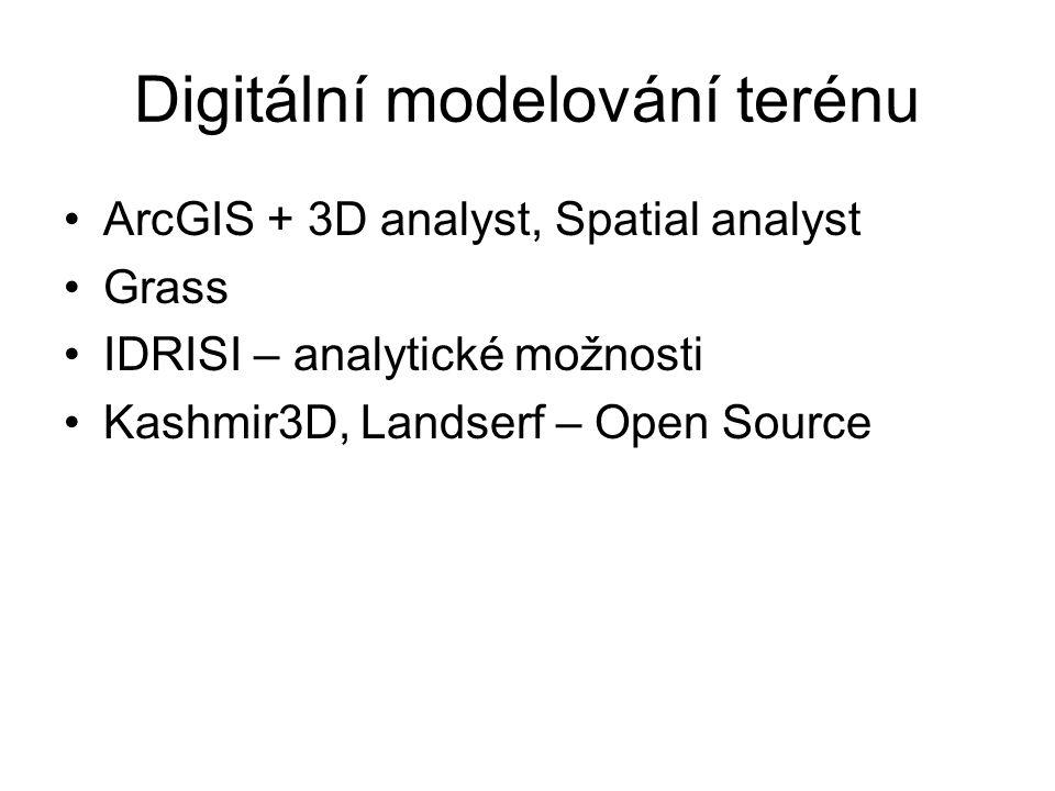 Digitální modelování terénu ArcGIS + 3D analyst, Spatial analyst Grass IDRISI – analytické možnosti Kashmir3D, Landserf – Open Source