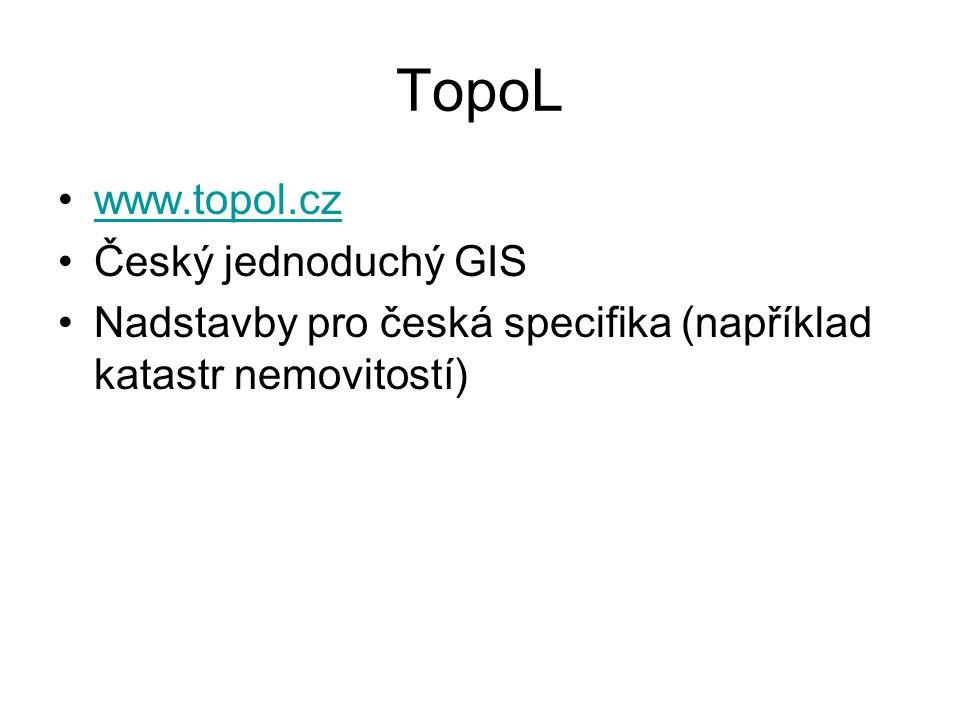 TopoL www.topol.cz Český jednoduchý GIS Nadstavby pro česká specifika (například katastr nemovitostí)
