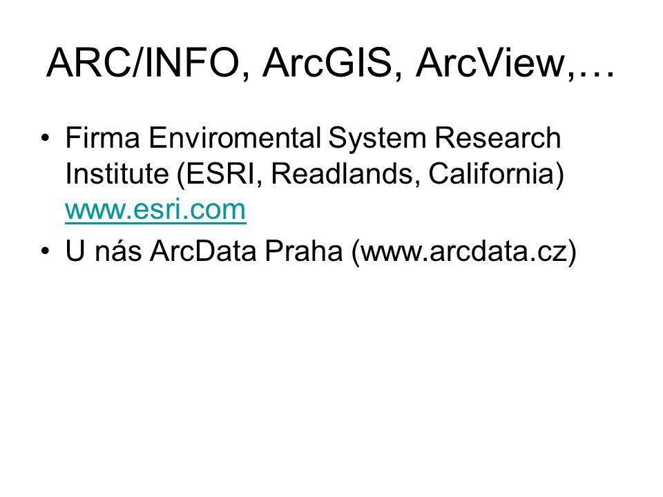 ARC/INFO, ArcGIS, ArcView,… Firma Enviromental System Research Institute (ESRI, Readlands, California) www.esri.com www.esri.com U nás ArcData Praha (