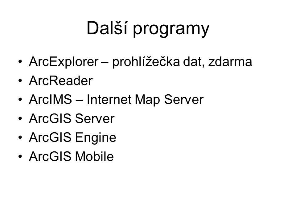 Další programy ArcExplorer – prohlížečka dat, zdarma ArcReader ArcIMS – Internet Map Server ArcGIS Server ArcGIS Engine ArcGIS Mobile