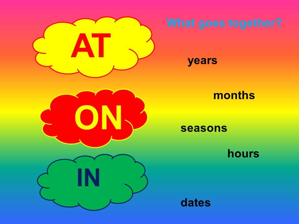AT ON IN 1.at seven o´ clock 2.in the afternoon 3.in April 4.on Sunday evening 5.in 2001 6.at Christmas 7.in ten minutes 8.on Easter day 9.at noon 10.in winter