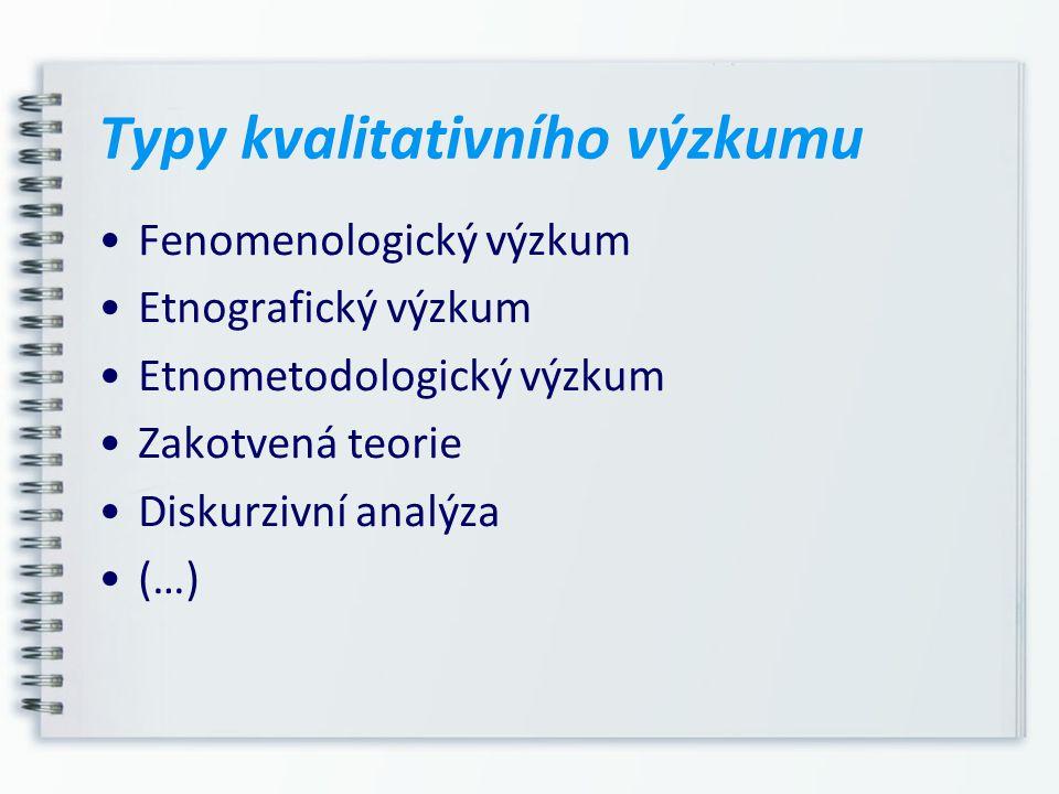 Typy kvalitativního výzkumu Fenomenologický výzkum Etnografický výzkum Etnometodologický výzkum Zakotvená teorie Diskurzivní analýza (…)