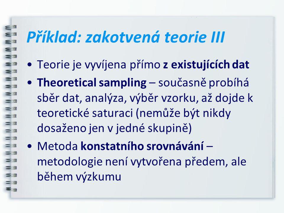 Příklad: zakotvená teorie III Teorie je vyvíjena přímo z existujících dat Theoretical sampling – současně probíhá sběr dat, analýza, výběr vzorku, až
