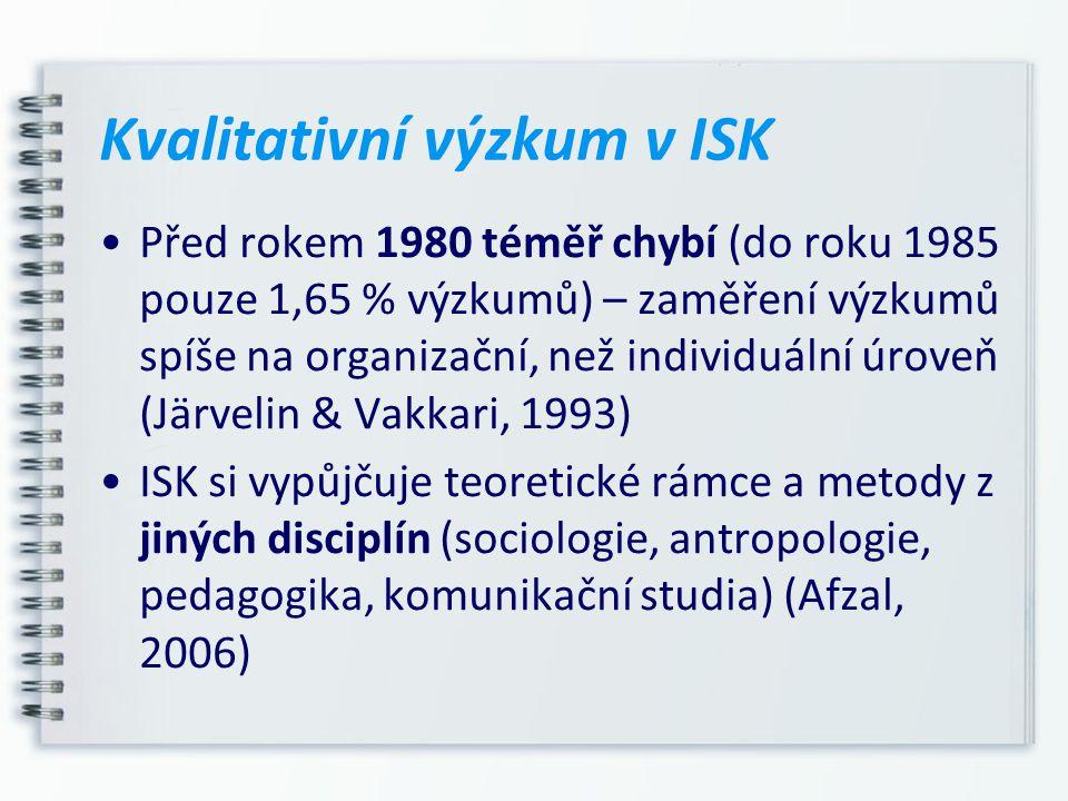 Kvalitativní výzkum v ISK Před rokem 1980 téměř chybí (do roku 1985 pouze 1,65 % výzkumů) – zaměření výzkumů spíše na organizační, než individuální úr