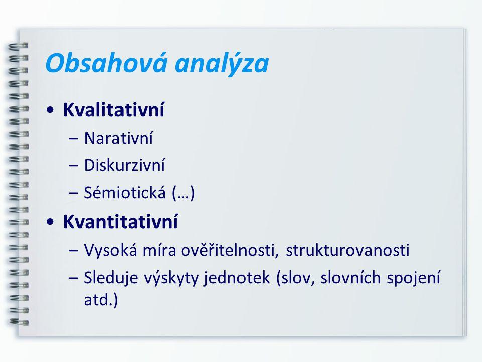 Kvalitativní –Narativní –Diskurzivní –Sémiotická (…) Kvantitativní –Vysoká míra ověřitelnosti, strukturovanosti –Sleduje výskyty jednotek (slov, slovn
