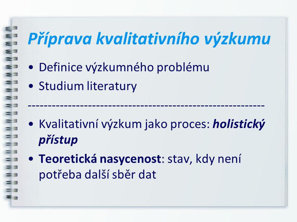 Definice výzkumného problému Studium literatury ----------------------------------------------------------- Kvalitativní výzkum jako proces: holistick