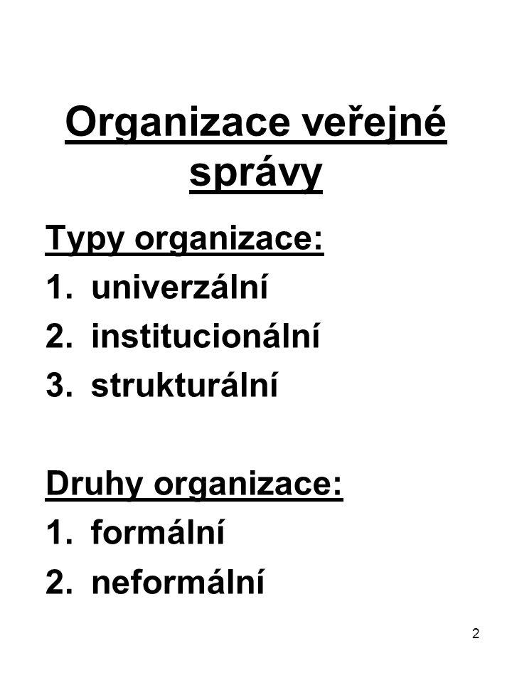 2 Organizace veřejné správy Typy organizace: 1.univerzální 2.institucionální 3.strukturální Druhy organizace: 1.formální 2.neformální