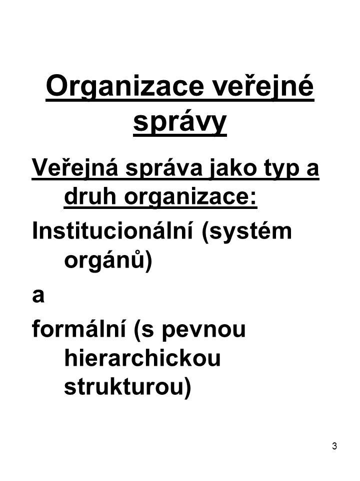 4 Organizace veřejné správy Prameny (1/2): -východisko především v Ústavě (1/1993 Sb.) -úst.