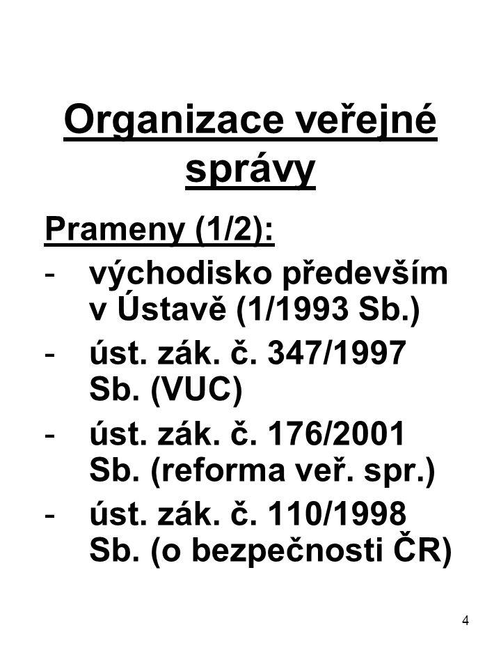 4 Organizace veřejné správy Prameny (1/2): -východisko především v Ústavě (1/1993 Sb.) -úst. zák. č. 347/1997 Sb. (VUC) -úst. zák. č. 176/2001 Sb. (re