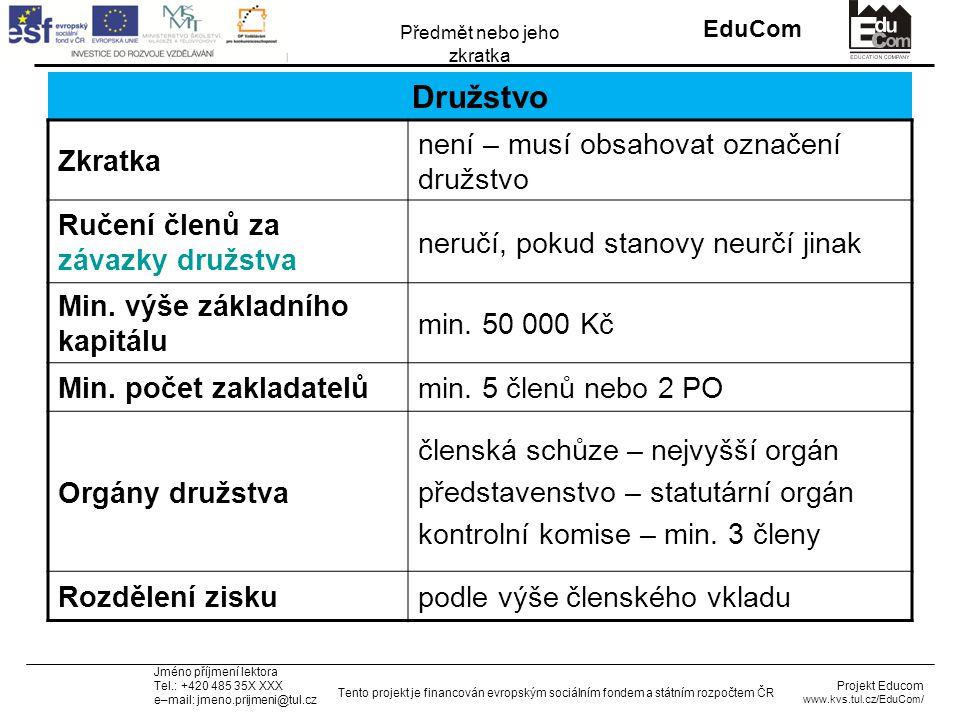 INVESTICE DO ROZVOJE VZDĚLÁVÁNÍ EduCom Projekt Educom www.kvs.tul.cz/EduCom/ Tento projekt je financován evropským sociálním fondem a státním rozpočtem ČR Předmět nebo jeho zkratka Jméno příjmení lektora Tel.: +420 485 35X XXX e–mail: jmeno.prijmeni@tul.cz Družstvo Zkratka není – musí obsahovat označení družstvo Ručení členů za závazky družstva neručí, pokud stanovy neurčí jinak Min.