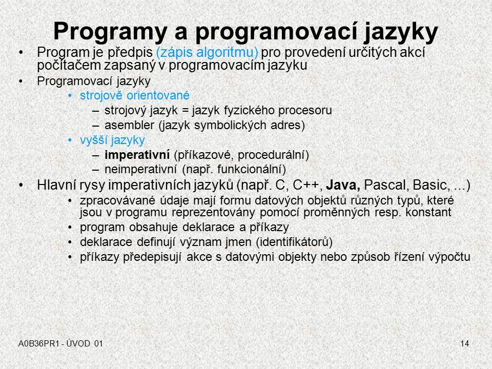 """A0B36PRI """"PROGRAMOVÁNÍ"""" 0213 Proces programování"""